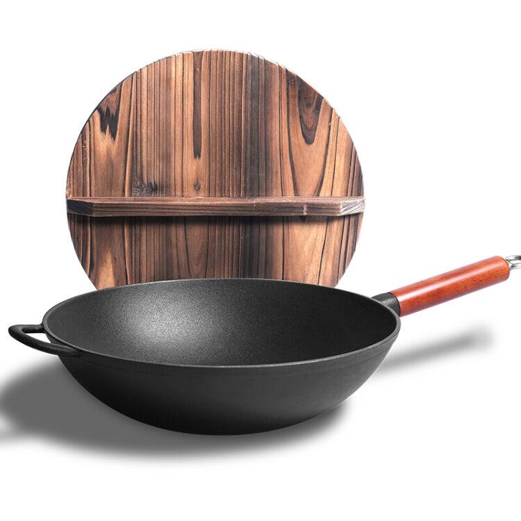 鑄味33cm炒鍋鑄鐵鍋平底鍋電磁爐
