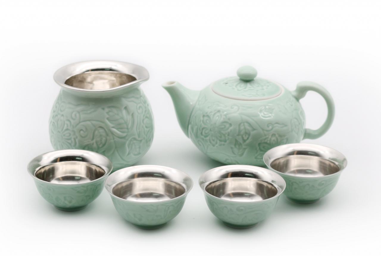 銀瓷天成 茶具套件 合家歡樂 禮盒裝